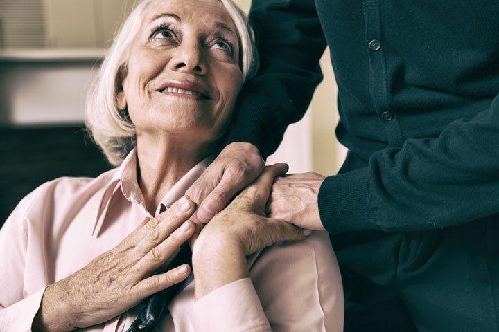 Senior Couple, Woman in wheelchair