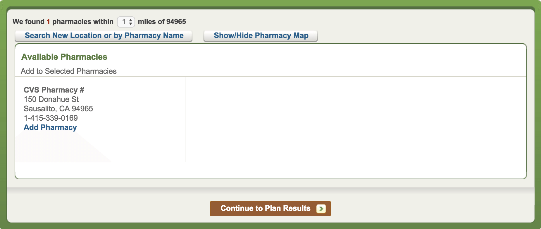 Coumadin Select Your Pharmacy Page
