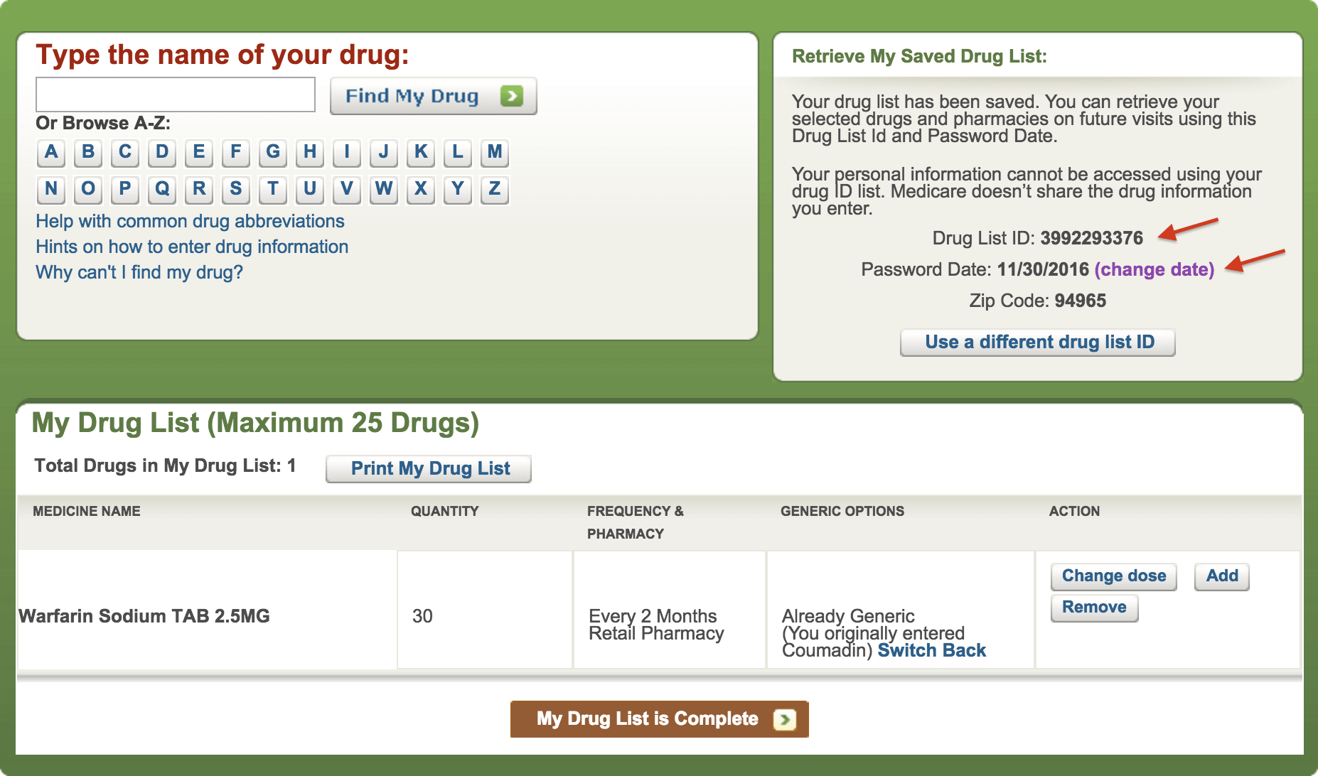 Coumadin Completed Drug List Page