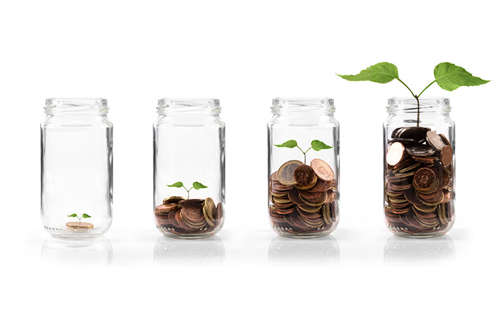 Coins growing in a jar