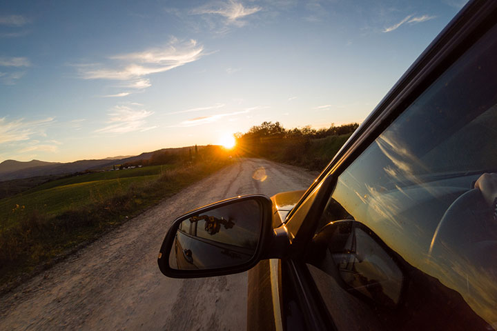 Watch the sunset while you drive